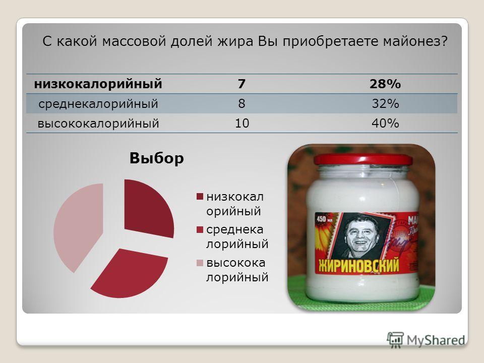 С какой массовой долей жира Вы приобретаете майонез? низкокалорийный728% среднекалорийный832% высококалорийный1040%