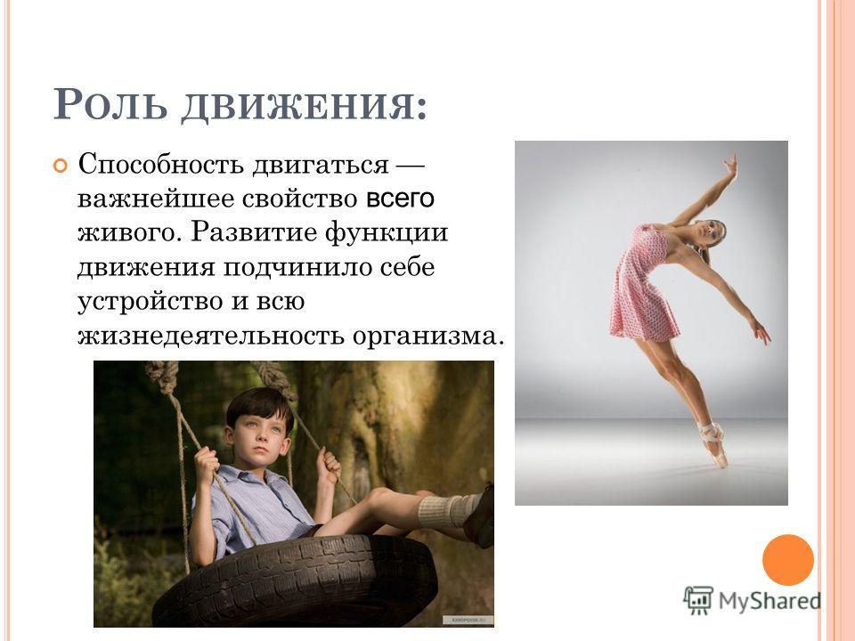 Р ОЛЬ ДВИЖЕНИЯ : Способность двигаться важнейшее свойство всего живого. Развитие функции движения подчинило себе устройство и всю жизнедеятельность организма.