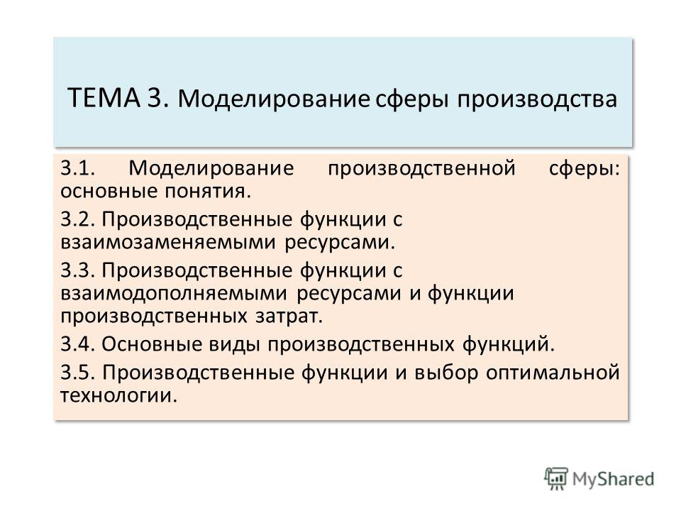 ТЕМА 3. Моделирование сферы производства 3.1. Моделирование производственной сферы: основные понятия. 3.2. Производственные функции с взаимозаменяемыми ресурсами. 3.3. Производственные функции с взаимодополняемыми ресурсами и функции производственных