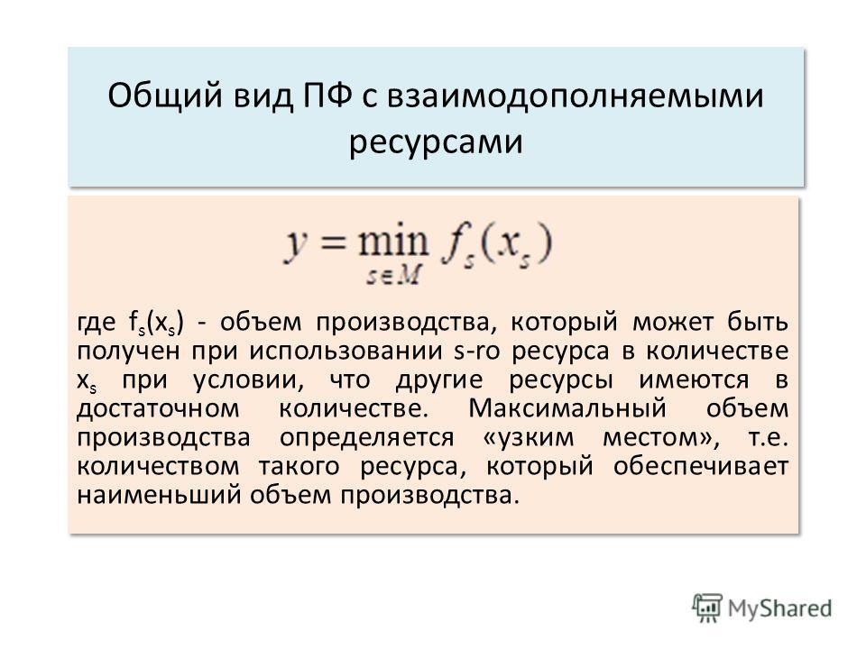 Общий вид ПФ с взаимодополняемыми ресурсами где f s (x s ) - объем производства, который может быть получен при использовании s-ro ресурса в количестве x s при условии, что другие ресурсы имеются в достаточном количестве. Максимальный объем производс