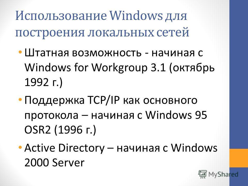 Использование Windows для построения локальных сетей Штатная возможность - начиная с Windows for Workgroup 3.1 (октябрь 1992 г.) Поддержка TCP/IP как основного протокола – начиная с Windows 95 OSR2 (1996 г.) Active Directory – начиная с Windows 2000