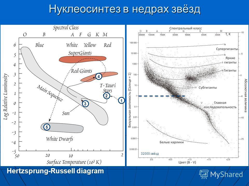 Hertzsprung-Russell diagram Нуклеосинтез в недрах звёзд 1 2 3 4 5 32000 звёзд