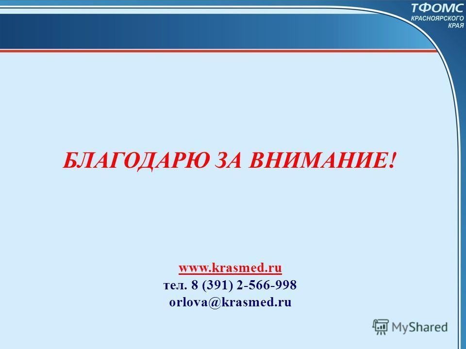 БЛАГОДАРЮ ЗА ВНИМАНИЕ! www.krasmed.ru тел. 8 (391) 2-566-998 orlova@krasmed.ru