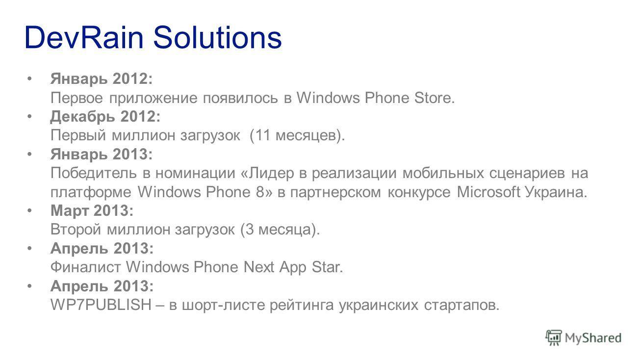 Январь 2012: Первое приложение появилось в Windows Phone Store. Декабрь 2012: Первый миллион загрузок (11 месяцев). Январь 2013: Победитель в номинации «Лидер в реализации мобильных сценариев на платформе Windows Phone 8» в партнерском конкурсе Micro