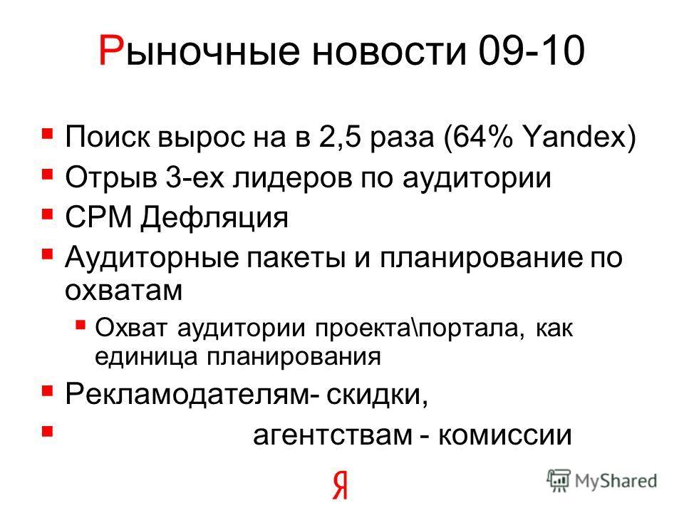 Рыночные новости 09-10 Поиск вырос на в 2,5 раза (64% Yandex) Отрыв 3-ех лидеров по аудитории CPM Дефляция Аудиторные пакеты и планирование по охватам Охват аудитории проекта\портала, как единица планирования Рекламодателям- скидки, агентствам - коми