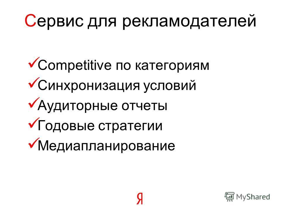 Сервис для рекламодателей Competitive по категориям Синхронизация условий Аудиторные отчеты Годовые стратегии Медиапланирование