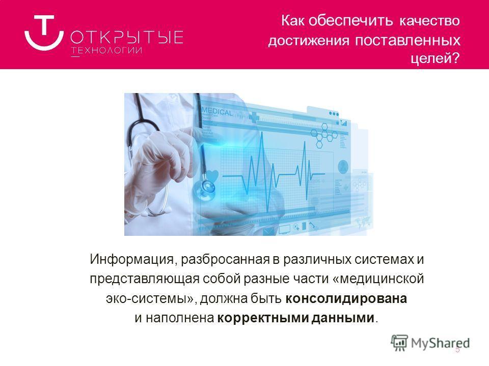 Информация, разбросанная в различных системах и представляющая собой разные части «медицинской эко-системы», должна быть консолидирована и наполнена корректными данными. Как обеспечить качество достижения поставленных целей? 5