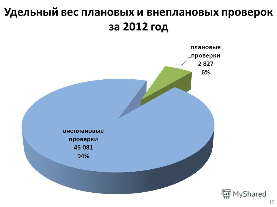 Удельный вес плановых и внеплановых проверок за 2012 год 13