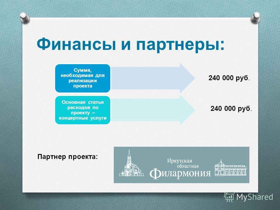 Финансы и партнеры : Сумма, необходимая для реализации проекта Основная статья расходов по проекту – концертные услуги 240 000 руб. Партнер проекта :
