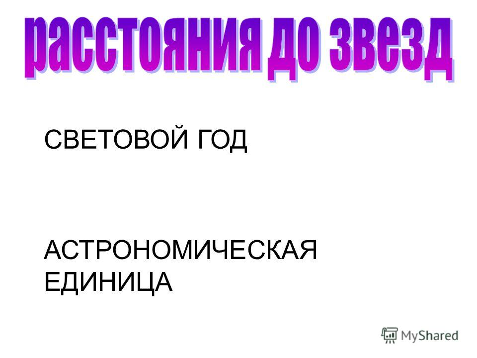 СВЕТОВОЙ ГОД АСТРОНОМИЧЕСКАЯ ЕДИНИЦА