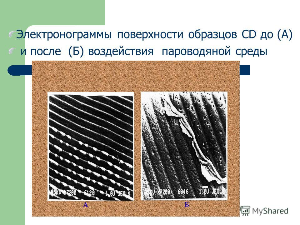 Электронограммы поверхности образцов CD до (А) и после (Б) воздействия пароводяной среды