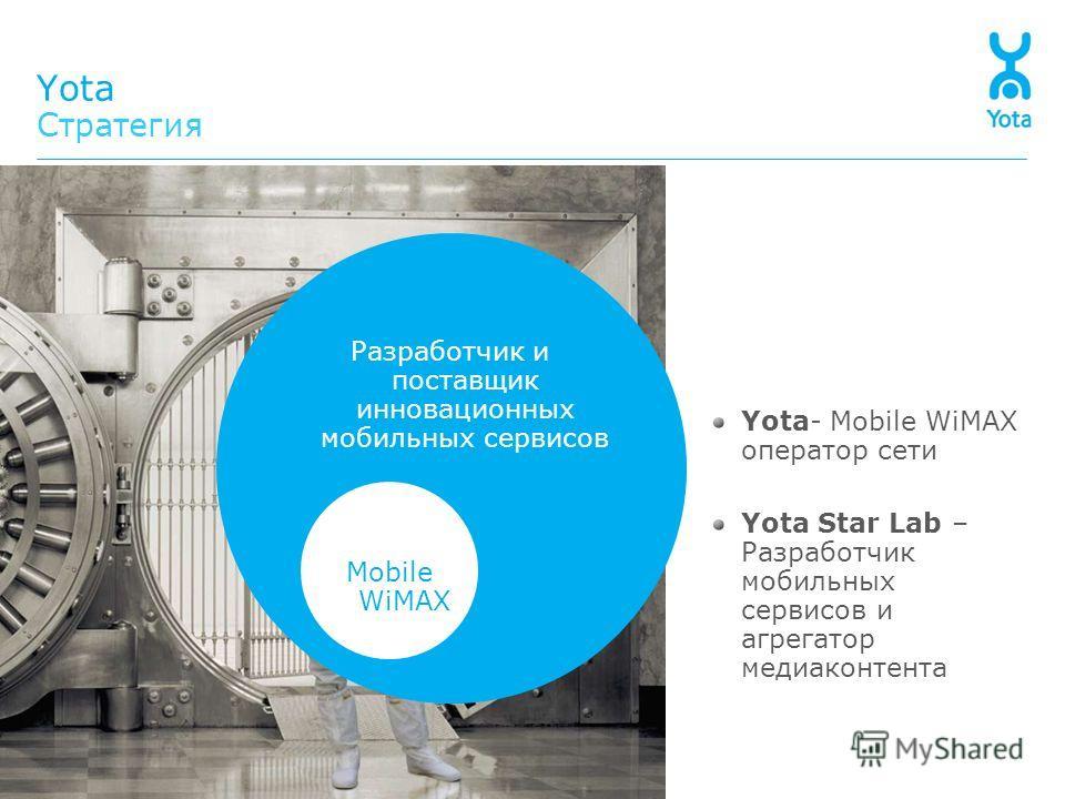 Yota Стратегия Разработчик и поставщик инновационных мобильных сервисов Mobile WiMAX Yota- Mobile WiMAX оператор сети Yota Star Lab – Разработчик мобильных сервисов и агрегатор медиаконтента