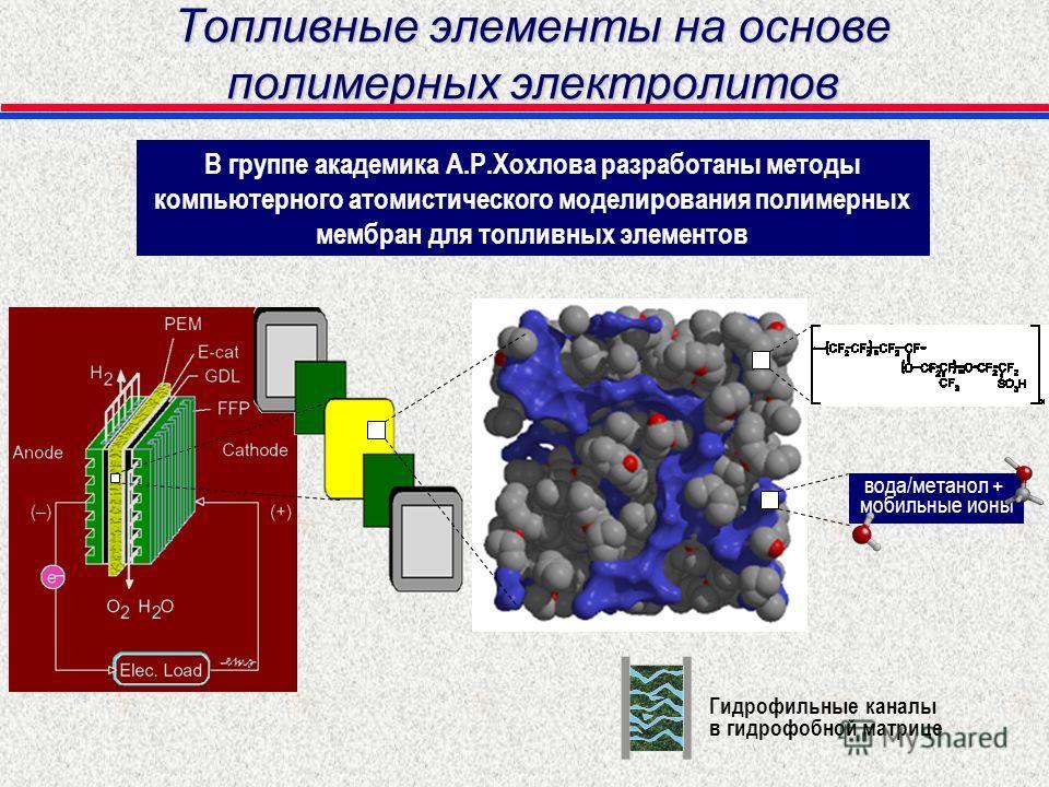 Топливные элементы на основе полимерных электролитов В группе академика А.Р.Хохлова разработаны методы компьютерного атомистического моделирования полимерных мембран для топливных элементов вода/метанол + мобильные ионы Гидрофильные каналы в гидрофоб