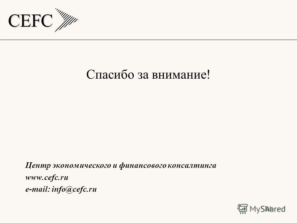 CEFC 23 Спасибо за внимание! Центр экономического и финансового консалтинга www.cefc.ru e-mail: info@cefc.ru