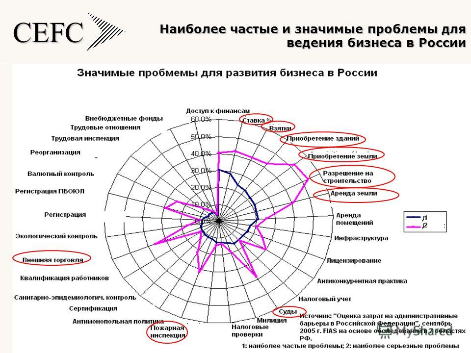 CEFC 5 Наиболее частые и значимые проблемы для ведения бизнеса в России