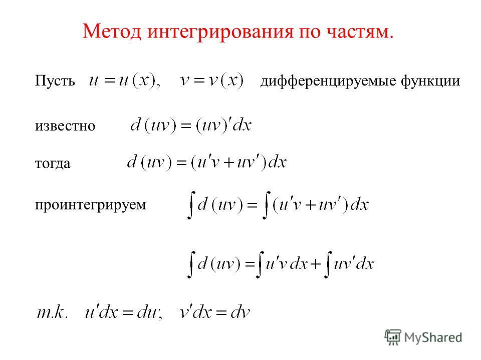 Метод интегрирования по частям. Пустьдифференцируемые функции известно тогда проинтегрируем