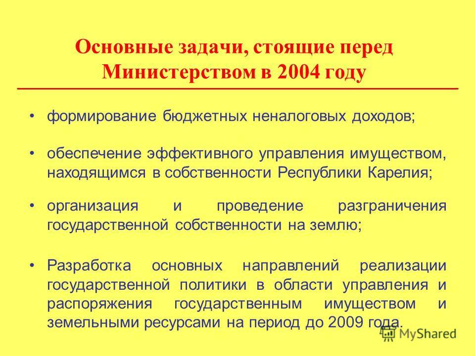 Основные задачи, стоящие перед Министерством в 2004 году формирование бюджетных неналоговых доходов; обеспечение эффективного управления имуществом, находящимся в собственности Республики Карелия; организация и проведение разграничения государственно