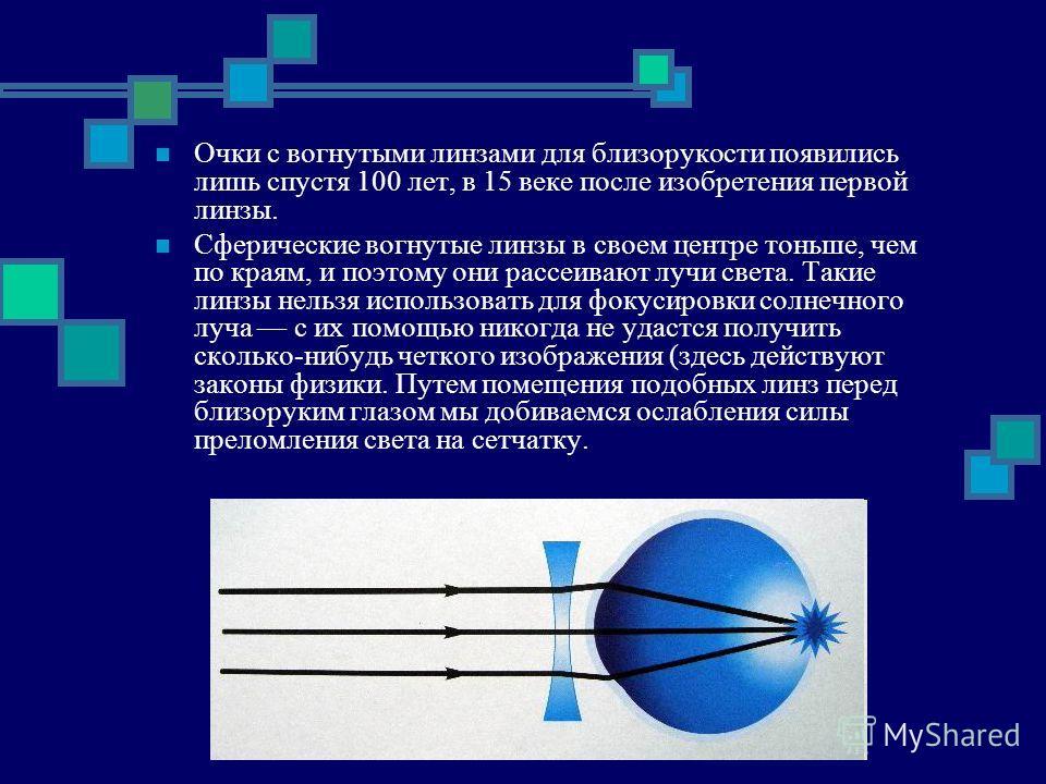 Очки с вогнутыми линзами для близорукости появились лишь спустя 100 лет, в 15 веке после изобретения первой линзы. Сферические вогнутые линзы в своем центре тоньше, чем по краям, и поэтому они рассеивают лучи света. Такие линзы нельзя использовать дл