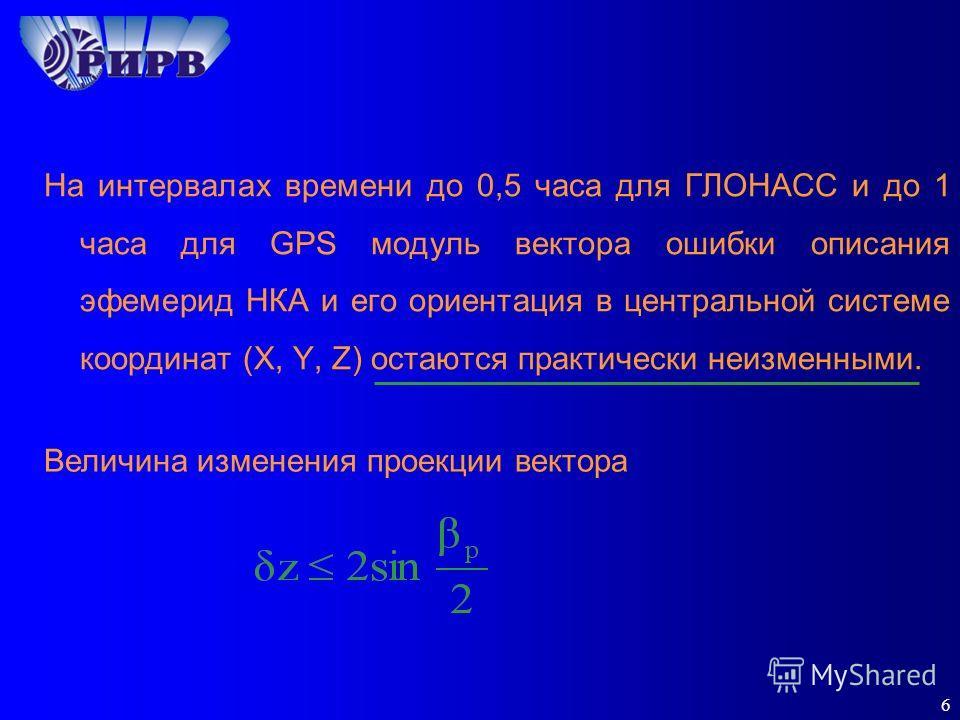 6 На интервалах времени до 0,5 часа для ГЛОНАСС и до 1 часа для GPS модуль вектора ошибки описания эфемерид НКА и его ориентация в центральной системе координат (X, Y, Z) остаются практически неизменными. Величина изменения проекции вектора