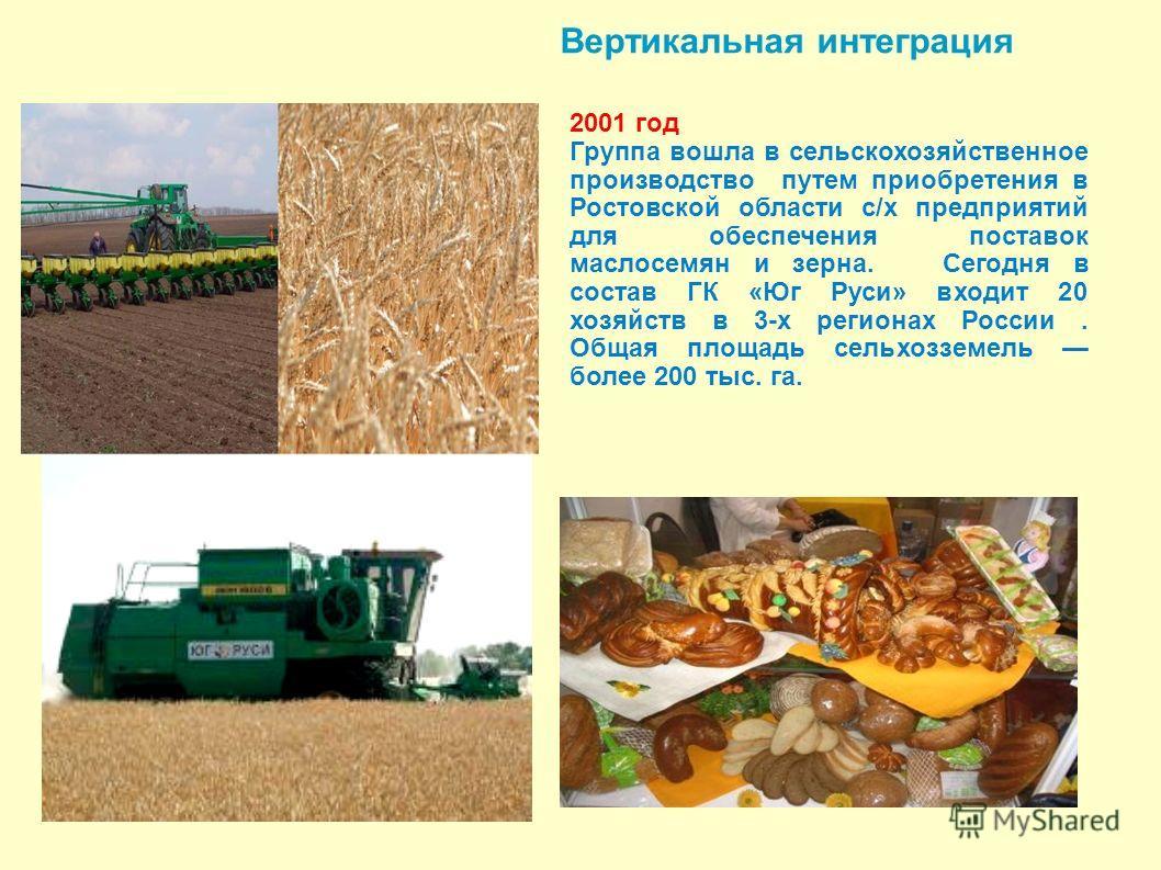 Вертикальная интеграция 2001 год Группа вошла в сельскохозяйственное производство путем приобретения в Ростовской области с/х предприятий для обеспечения поставок маслосемян и зерна. Сегодня в состав ГК «Юг Руси» входит 20 хозяйств в 3-х регионах Рос