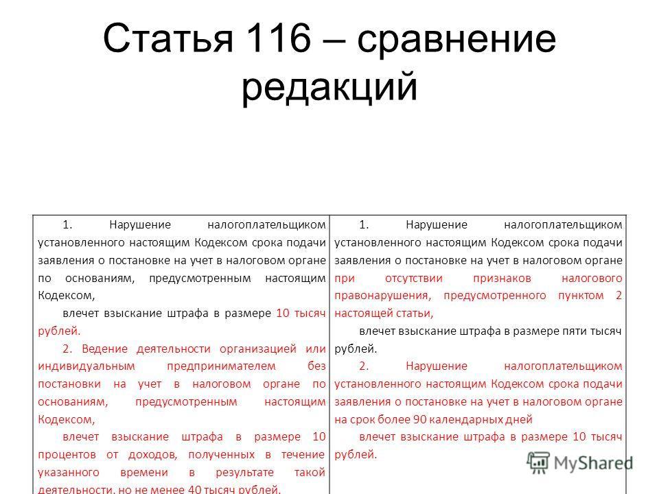 Статья 116 – сравнение редакций 1. Нарушение налогоплательщиком установленного настоящим Кодексом срока подачи заявления о постановке на учет в налоговом органе по основаниям, предусмотренным настоящим Кодексом, влечет взыскание штрафа в размере 10 т
