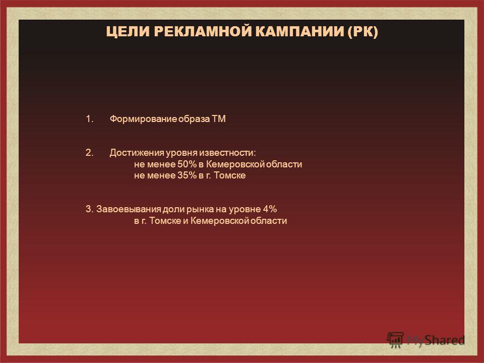 ЦЕЛИ РЕКЛАМНОЙ КАМПАНИИ (РК) 1.Формирование образа ТМ 2.Достижения уровня известности: не менее 50% в Кемеровской области не менее 35% в г. Томске 3. Завоевывания доли рынка на уровне 4% в г. Томске и Кемеровской области