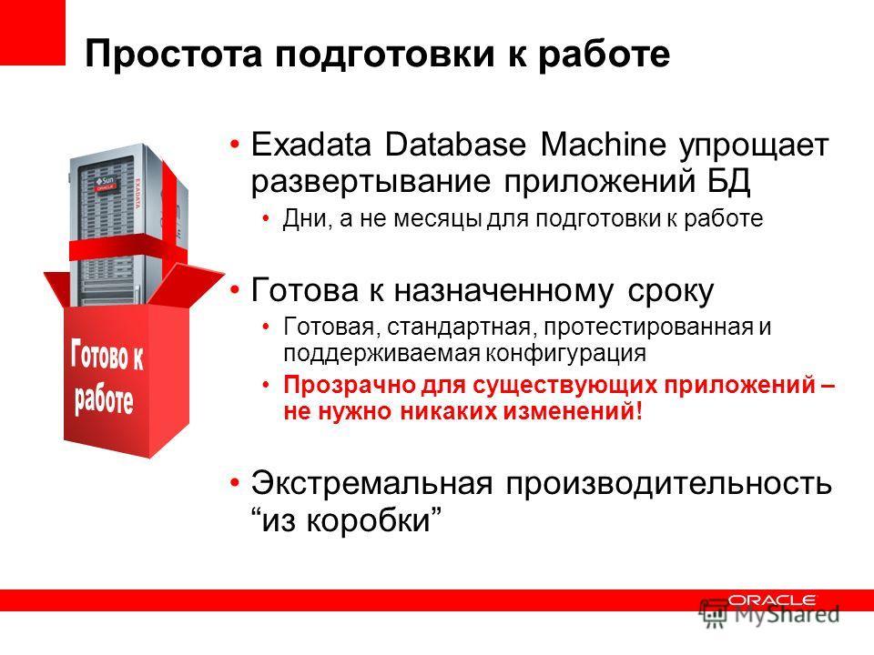 Простота подготовки к работе Exadata Database Machine упрощает развертывание приложений БД Дни, а не месяцы для подготовки к работе Готова к назначенному сроку Готовая, стандартная, протестированная и поддерживаемая конфигурация Прозрачно для существ