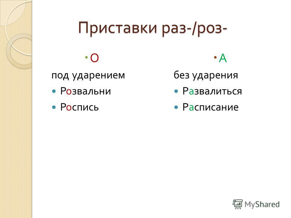 Приставки раз -/ роз - О под ударением Розвальни Роспись А без ударения Развалиться Расписание