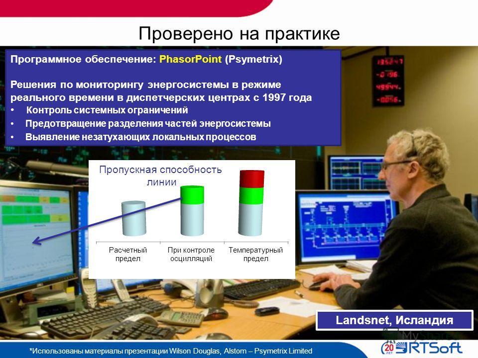 Проверено на практике Landsnet, Исландия Программное обеспечение: PhasorPoint (Psymetrix) Решения по мониторингу энергосистемы в режиме реального времени в диспетчерских центрах с 1997 года Контроль системных ограничений Предотвращение разделения час