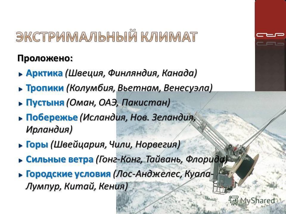 Проложено: Арктика (Швеция, Финляндия, Канада) Тропики (Колумбия, Вьетнам, Венесуэла) Пустыня (Оман, ОАЭ, Пакистан) Побережье (Исландия, Нов. Зеландия, Ирландия) Горы (Швейцария, Чили, Норвегия) Сильные ветра (Гонг-Конг, Тайвань, Флорида) Городские у