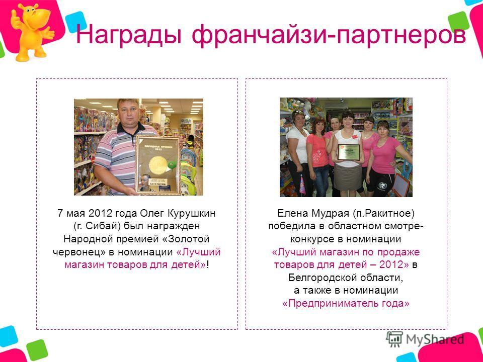 Награды франчайзи-партнеров 7 мая 2012 года Олег Курушкин (г. Сибай) был награжден Народной премией «Золотой червонец» в номинации «Лучший магазин товаров для детей»! Елена Мудрая (п.Ракитное) победила в областном смотре- конкурсе в номинации «Лучший