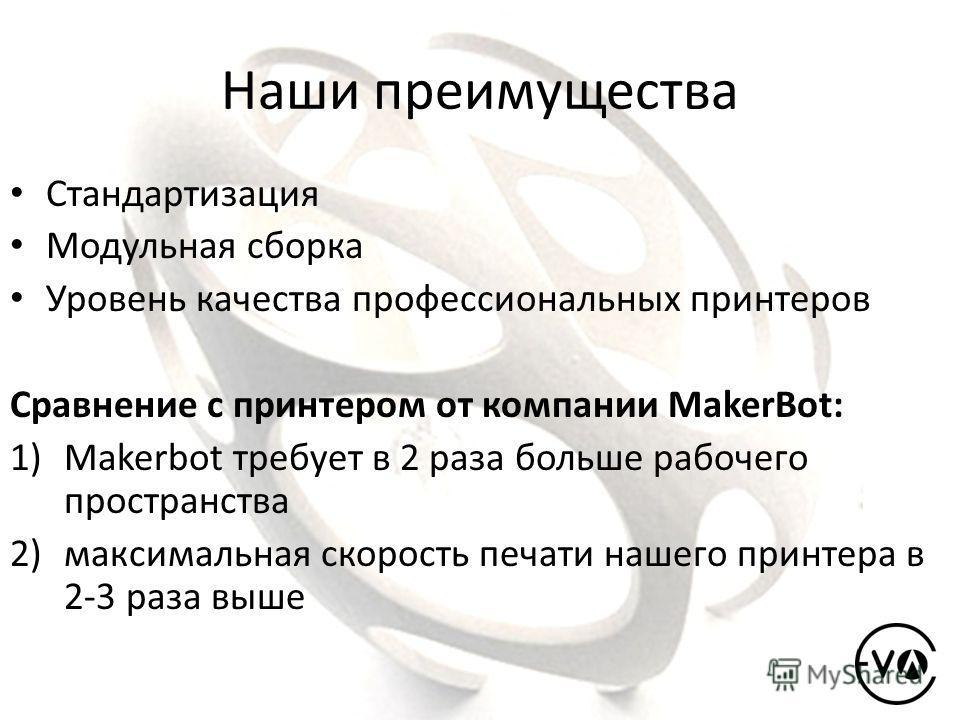Наши преимущества Cтандартизация Модульная сборка Уровень качества профессиональных принтеров Сравнение с принтером от компании MakerBot: 1)Makerbot требует в 2 раза больше рабочего пространства 2)максимальная скорость печати нашего принтера в 2-3 ра