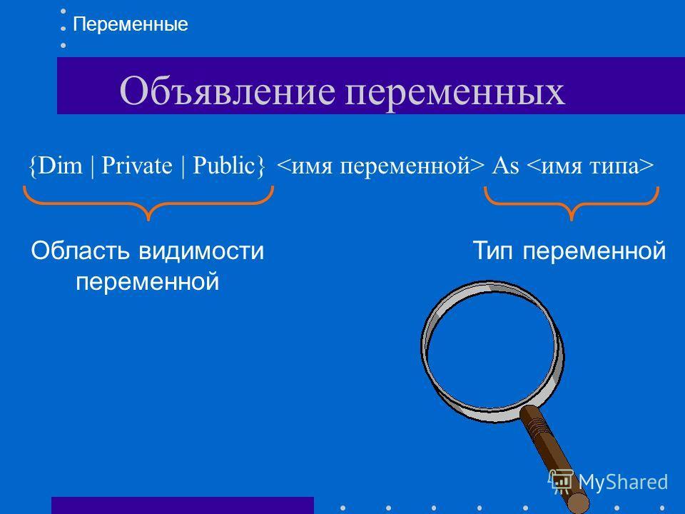 Объявление переменных {Dim | Private | Public} As Переменные Область видимости переменной Тип переменной