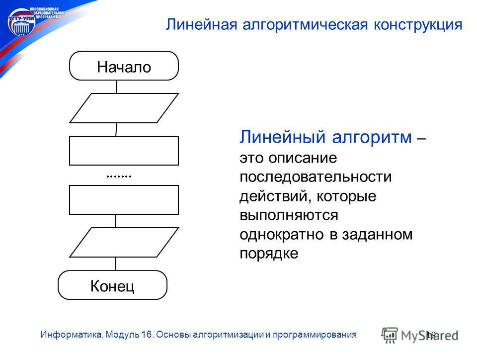 Информатика. Модуль 16. Основы алгоритмизации и программирования19 Линейная алгоритмическая конструкция Линейный алгоритм – это описание последовательности действий, которые выполняются однократно в заданном порядке Начало Конец