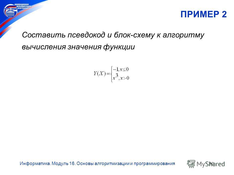 Информатика. Модуль 16. Основы алгоритмизации и программирования30 ПРИМЕР 2 Составить псевдокод и блок-схему к алгоритму вычисления значения функции
