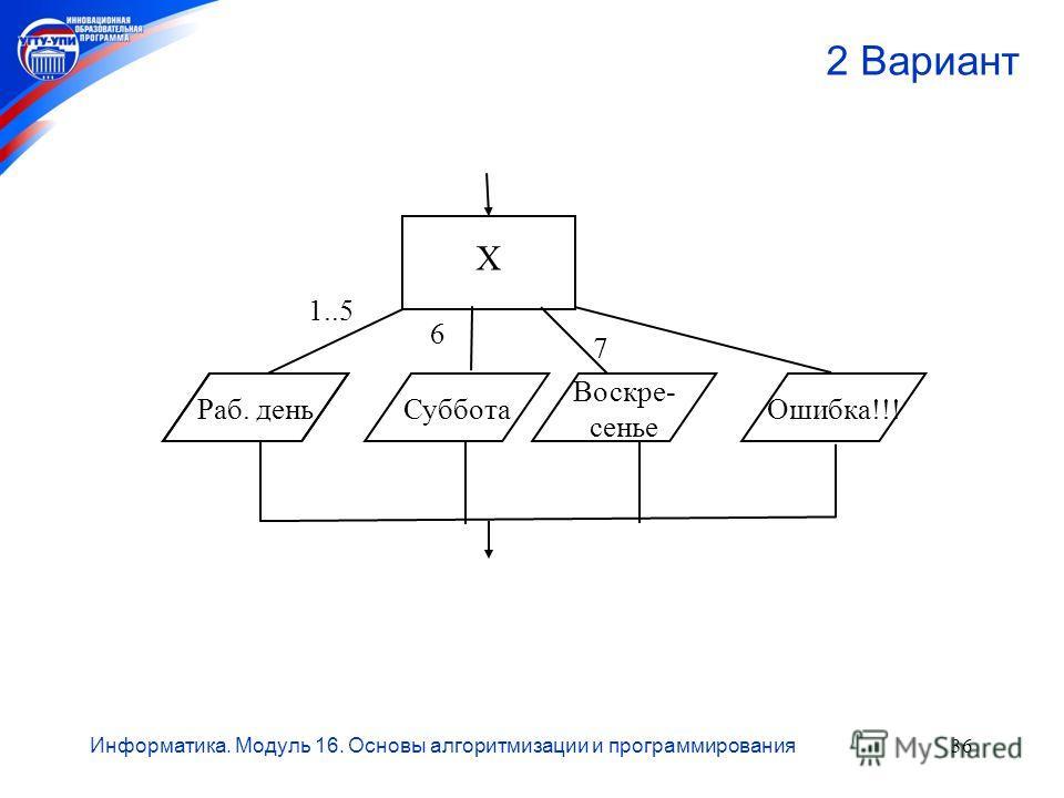 Информатика. Модуль 16. Основы алгоритмизации и программирования36 2 Вариант 7 6 1..5 Х Раб. деньСуббота Воскре- сенье Ошибка!!!