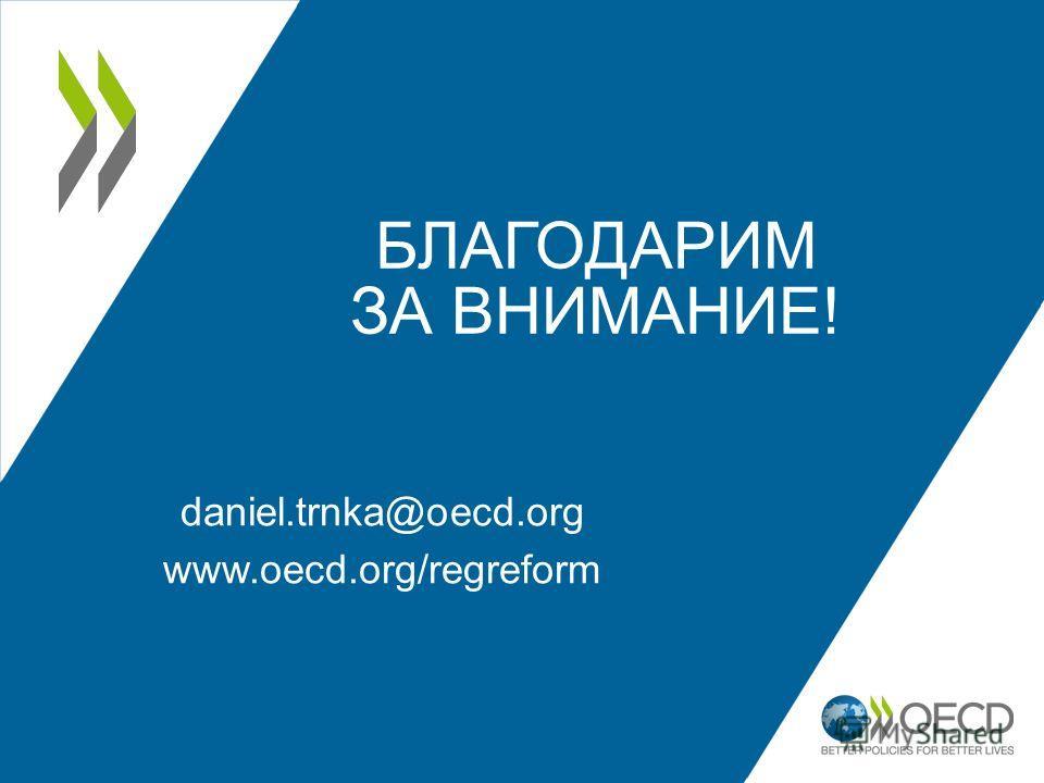 БЛАГОДАРИМ ЗА ВНИМАНИЕ! daniel.trnka@oecd.org www.oecd.org/regreform