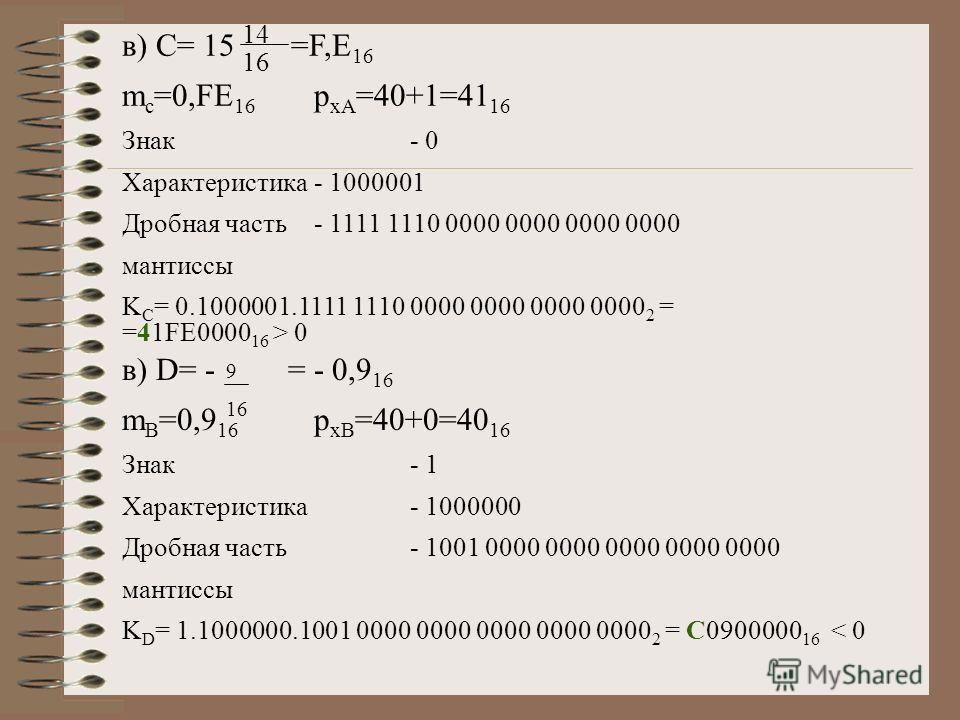 в) С= 15 =F,E 16 m c =0,FE 16 p xA =40+1=41 16 Знак- 0 Характеристика- 1000001 Дробная часть- 1111 1110 0000 0000 0000 0000 мантиссы K C = 0.1000001.1111 1110 0000 0000 0000 0000 2 = =41FE0000 16 > 0 14 16 в) D= - = - 0,9 16 m B =0,9 16 p xB =40+0=40
