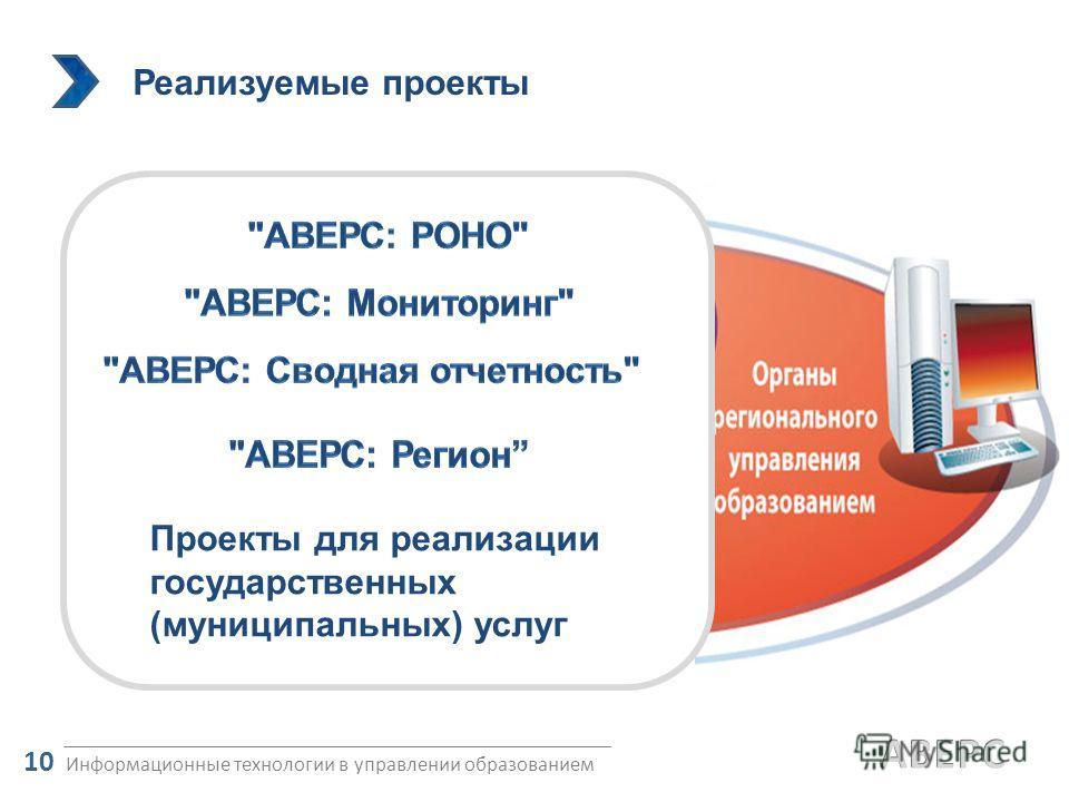 Реализуемые проекты Информационные технологии в управлении образованием 10 Проекты для реализации государственных (муниципальных) услуг
