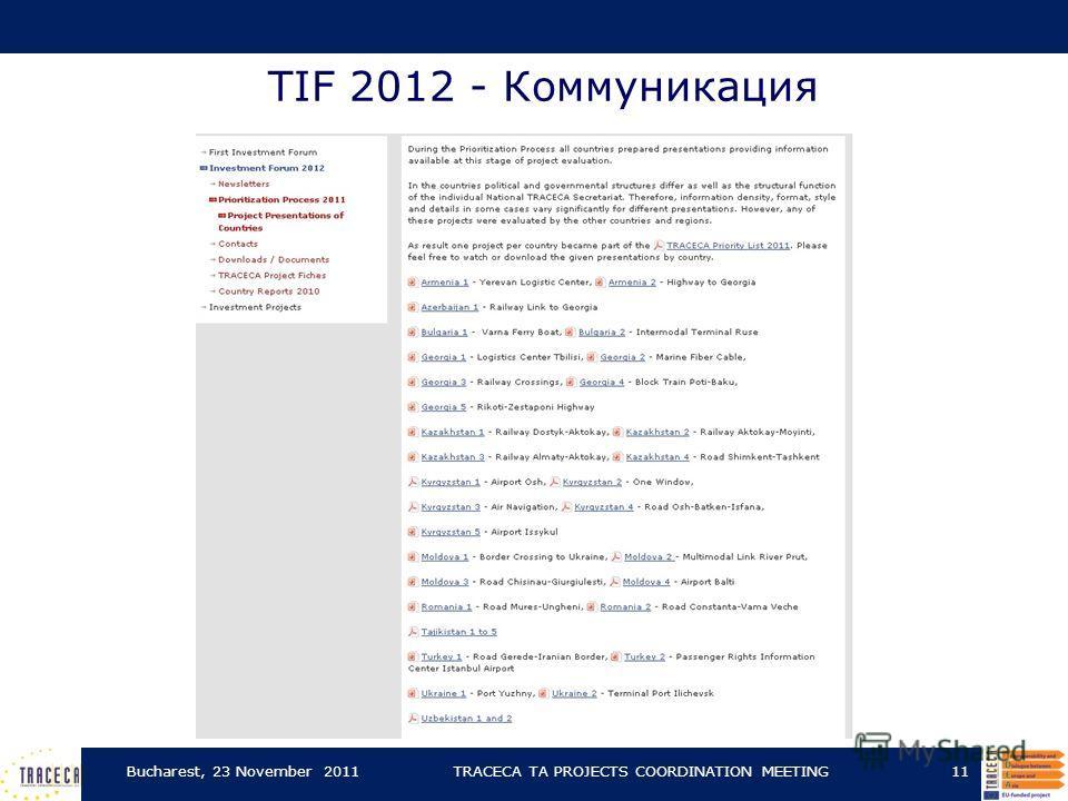 TIF 2012 - Коммуникация Bucharest, 23 November 2011TRACECA TA PROJECTS COORDINATION MEETING11