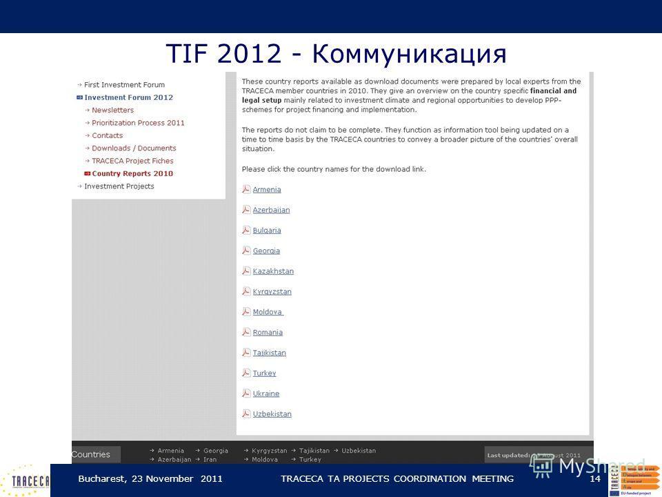 TIF 2012 - Коммуникация Bucharest, 23 November 2011TRACECA TA PROJECTS COORDINATION MEETING14