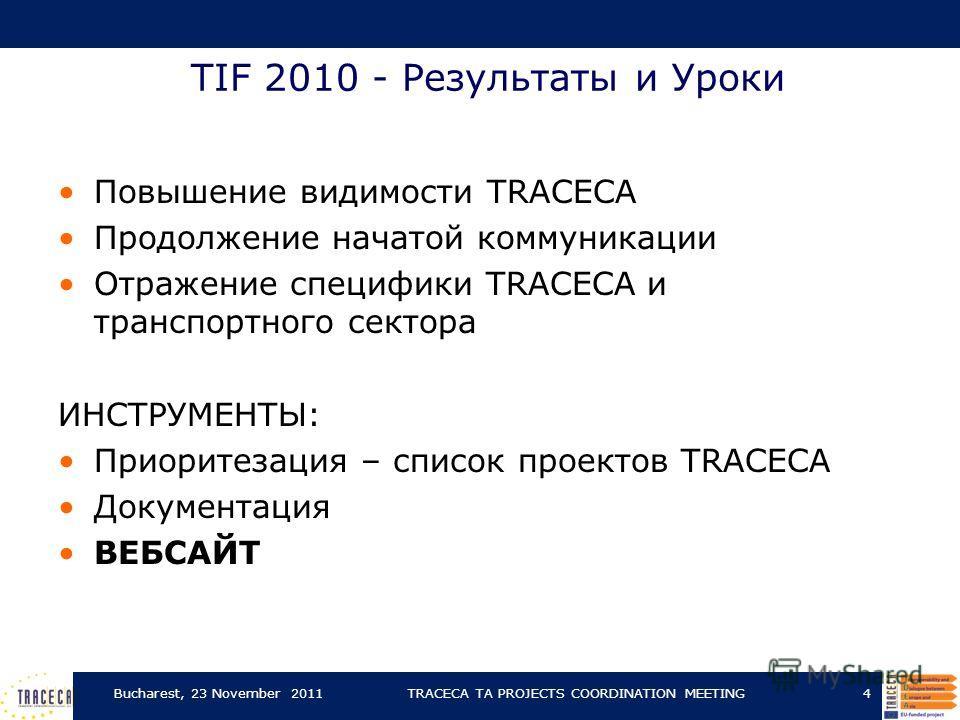 TIF 2010 - Результаты и Уроки Повышение видимости TRACECA Продолжение начатой коммуникации Отражение специфики TRACECA и транспортного сектора ИНСТРУМЕНТЫ: Приоритезация – список проектов TRACECA Документация ВЕБСАЙТ Bucharest, 23 November 2011TRACEC