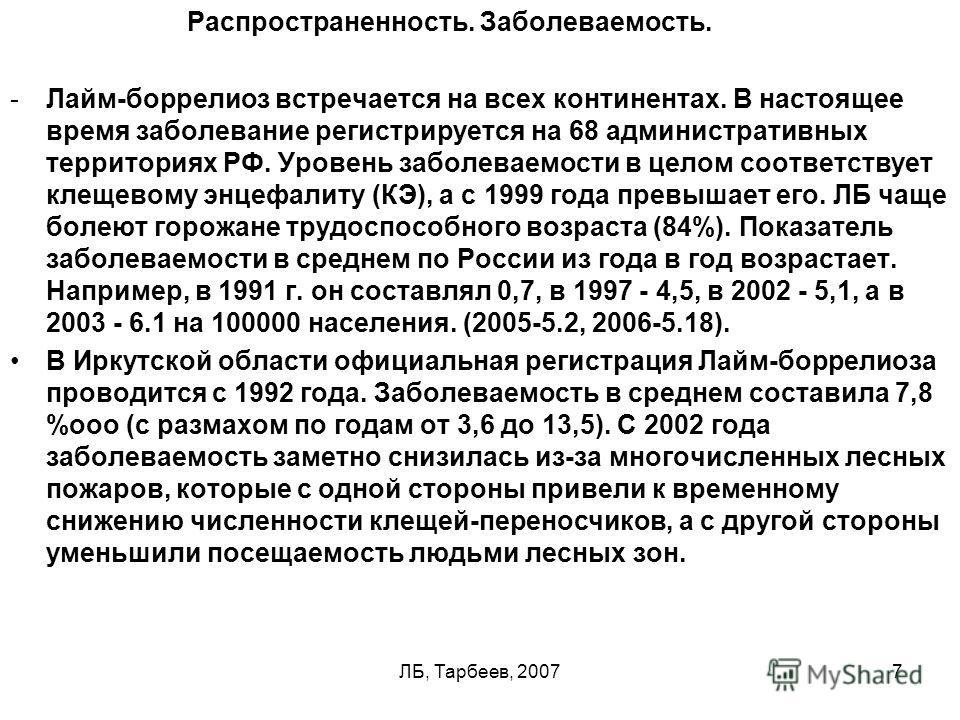 ЛБ, Тарбеев, 20077 Распространенность. Заболеваемость. -Лайм-боррелиоз встречается на всех континентах. В настоящее время заболевание регистрируется на 68 административных территориях РФ. Уровень заболеваемости в целом соответствует клещевому энцефал