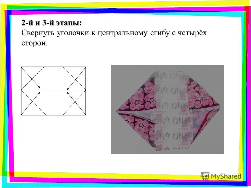 2-й и 3-й этапы: Свернуть уголочки к центральному сгибу с четырёх сторон.