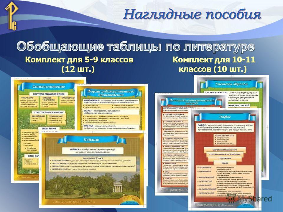 Комплект для 5-9 классов (12 шт.) Комплект для 10-11 классов (10 шт.)