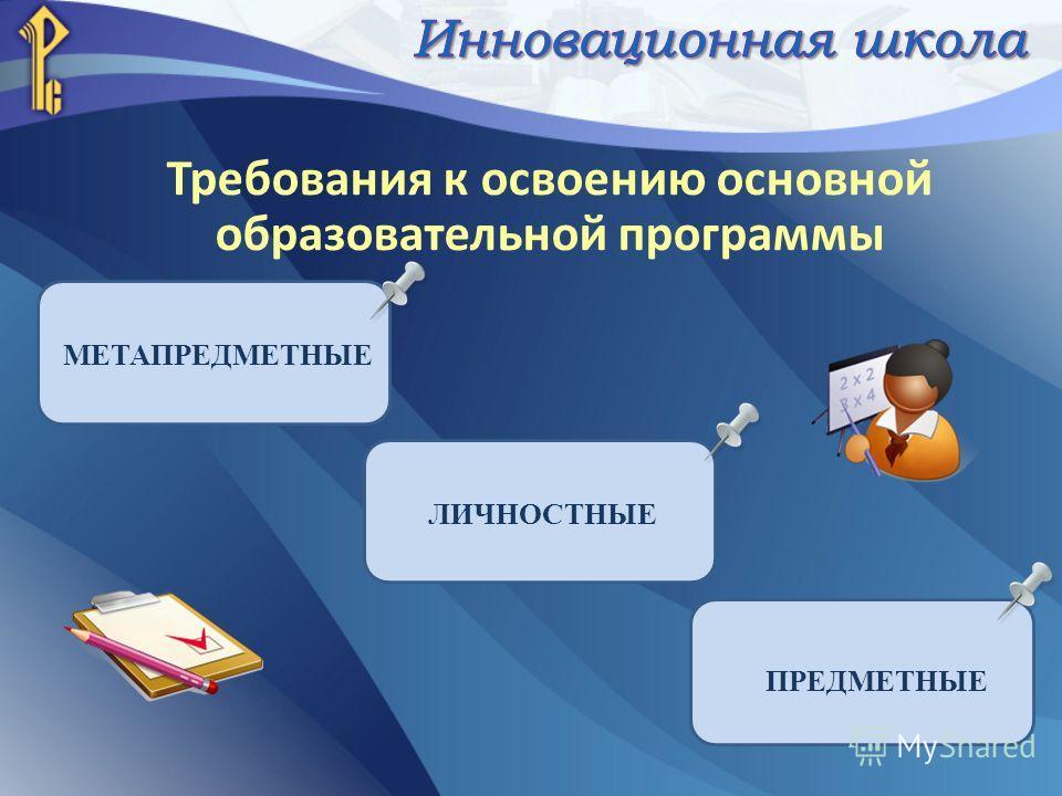 Требования к освоению основной образовательной программы МЕТАПРЕДМЕТНЫЕ ЛИЧНОСТНЫЕ ПРЕДМЕТНЫЕ