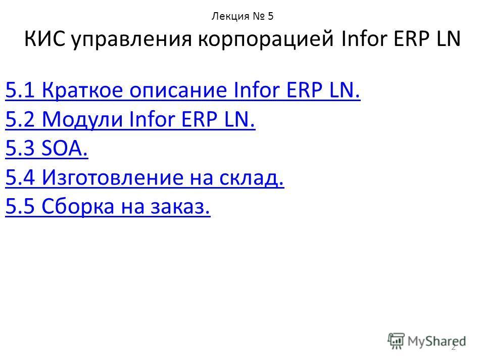 Лекция 5 КИС управления корпорацией Infor ERP LN 5.1 Краткое описание Infor ERP LN. 5.2 Модули Infor ERP LN. 5.3 SOA. 5.4 Изготовление на склад. 5.5 Сборка на заказ. 2