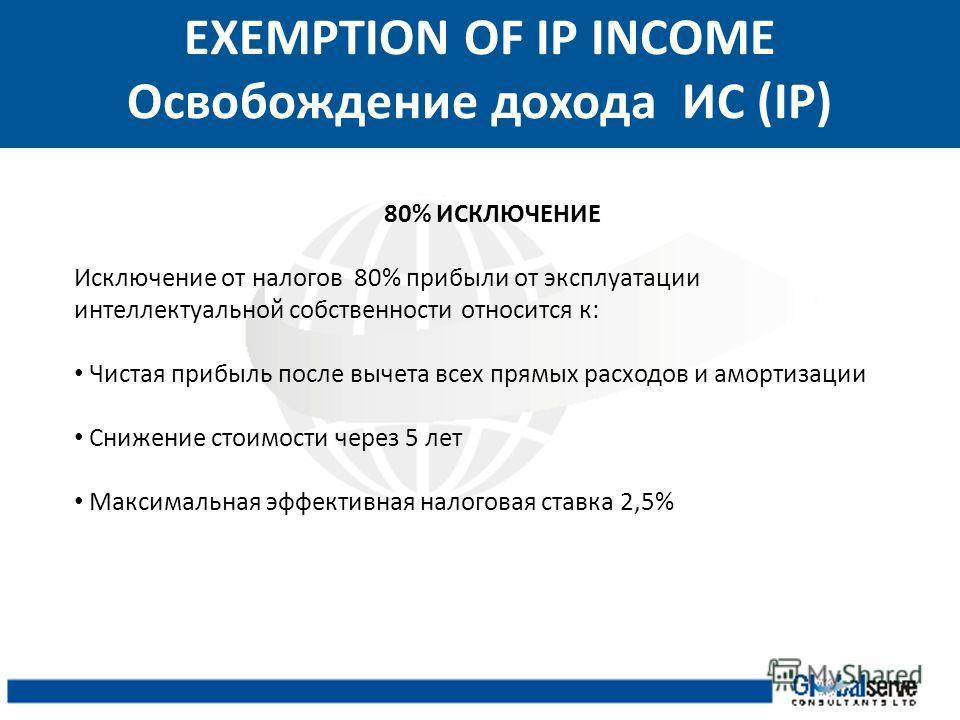 EXEMPTION OF IP INCOME Освобождение дохода ИС (IP) 80% ИСКЛЮЧЕНИЕ Исключение от налогов 80% прибыли от эксплуатации интеллектуальной собственности относится к: Чистая прибыль после вычета всех прямых расходов и амортизации Снижение стоимости через 5