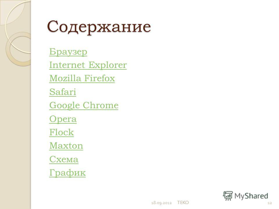 Содержание Браузер Internet Explorer Mozilla Firefox Safari Google Chrome Opera Flock Махtоn Схема График 18.09.2012TEKO12
