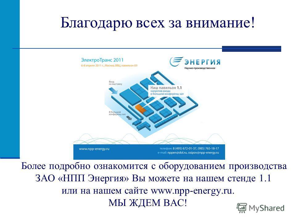 Более подробно ознакомится с оборудованием производства ЗАО «НПП Энергия» Вы можете на нашем стенде 1.1 или на нашем сайте www.npp-energy.ru. МЫ ЖДЕМ ВАС! Благодарю всех за внимание!